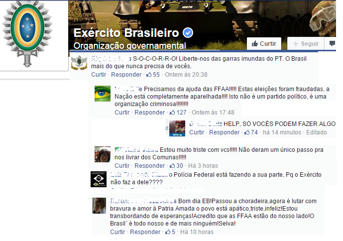 pedidos de intervenção ao exército brasileiro