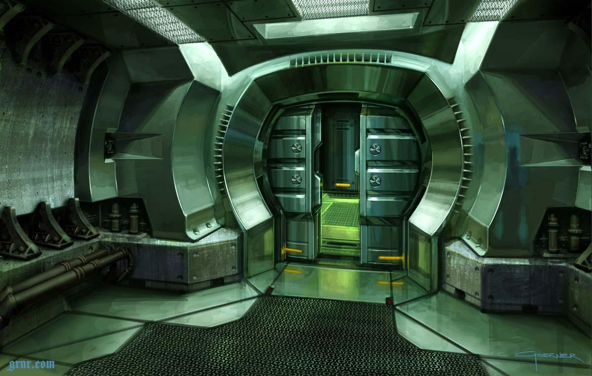 Concept art garage and search on pinterest for Futuristic control room