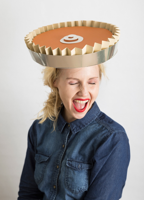 Start a new tradition of making hats for each other to wear on Thanksgiving like this pumpkin pie hat.