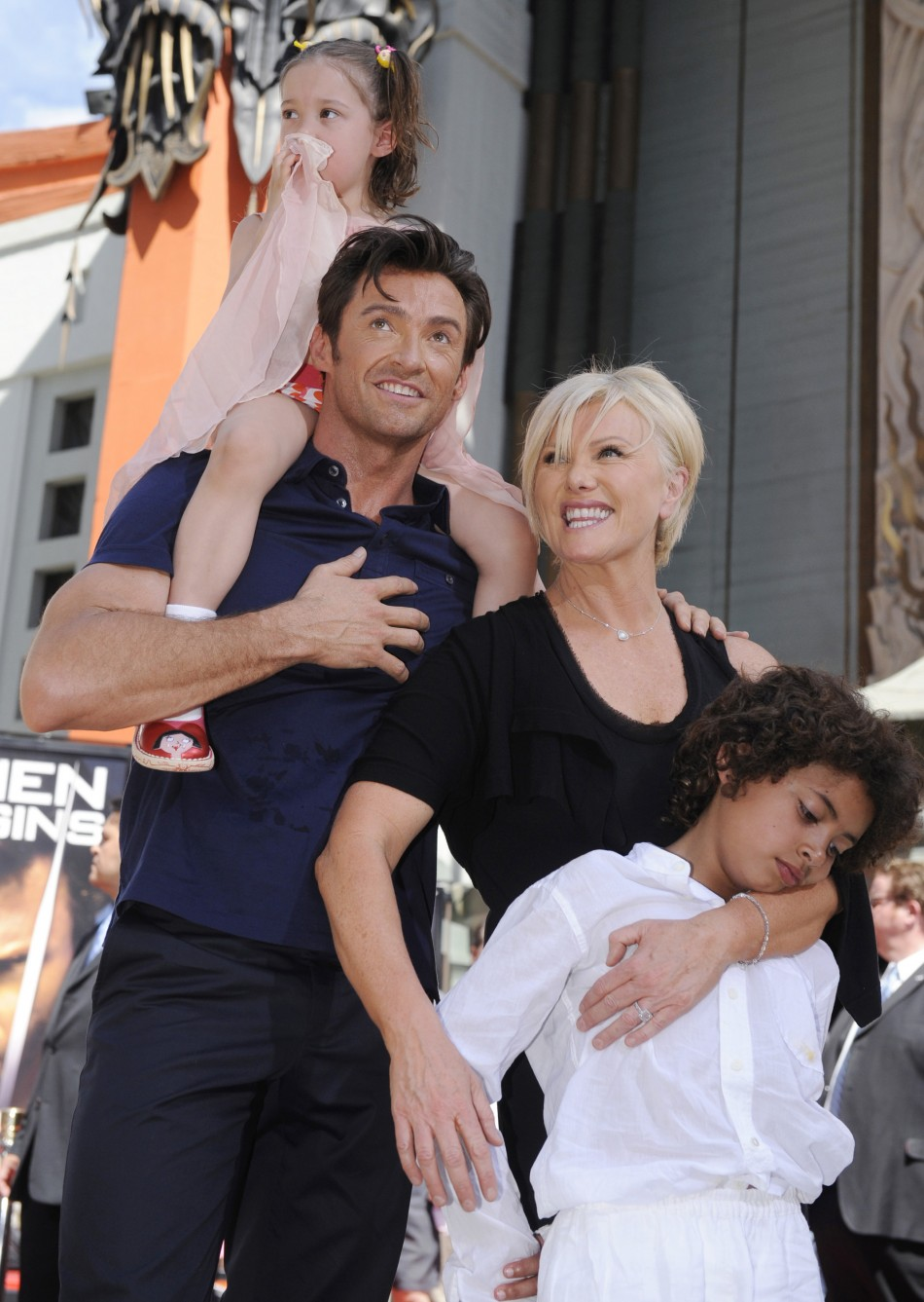 Family photo of the actor, married to Deborra-Lee Furness, famous for Wolverine & X-Men.
