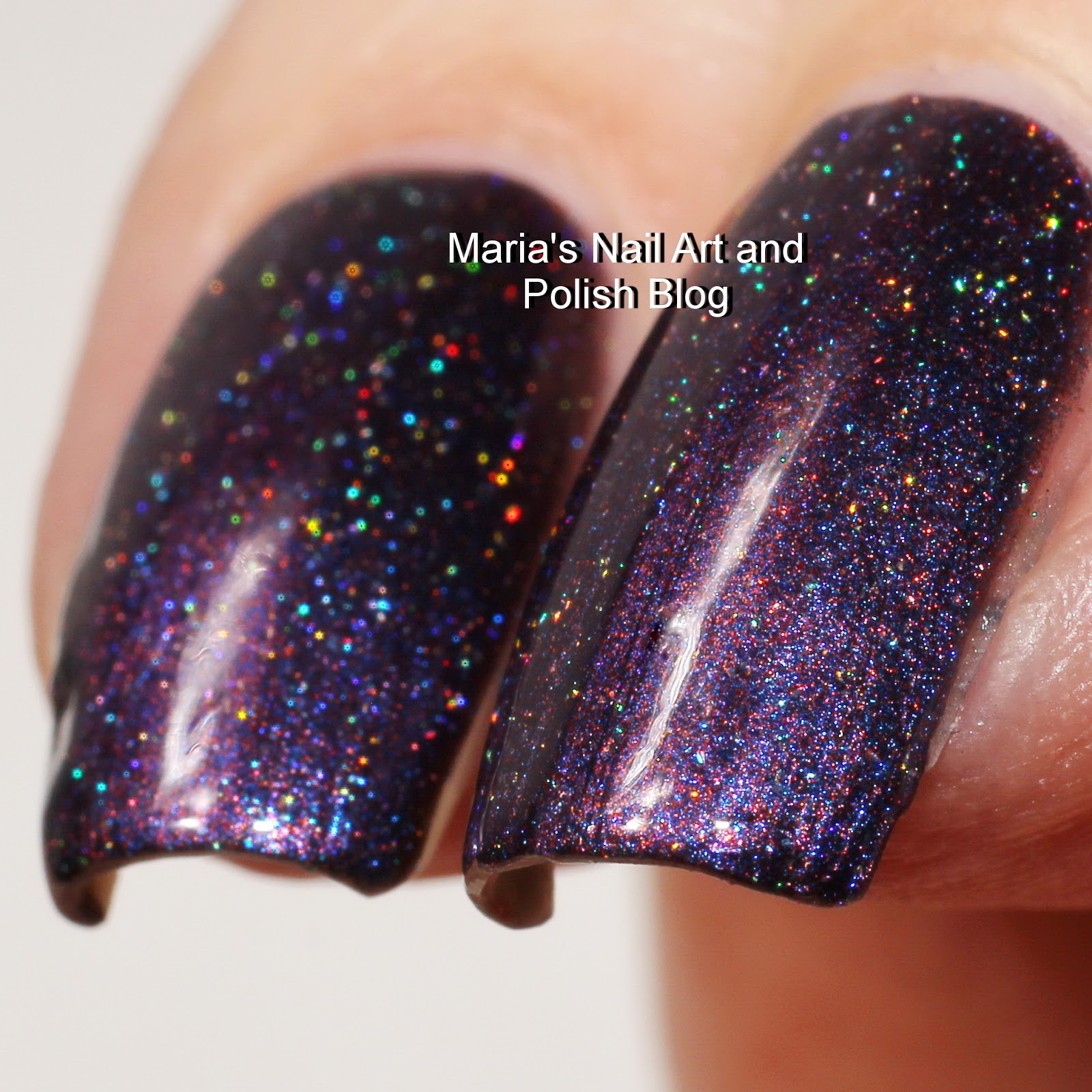 Starrily Hotel Transylvania Is A Beautiful Dark And Slightly Smoked Purple  With Micro Holo Flakies It Is Very Opaque In One Coat, But This Is Two  With A
