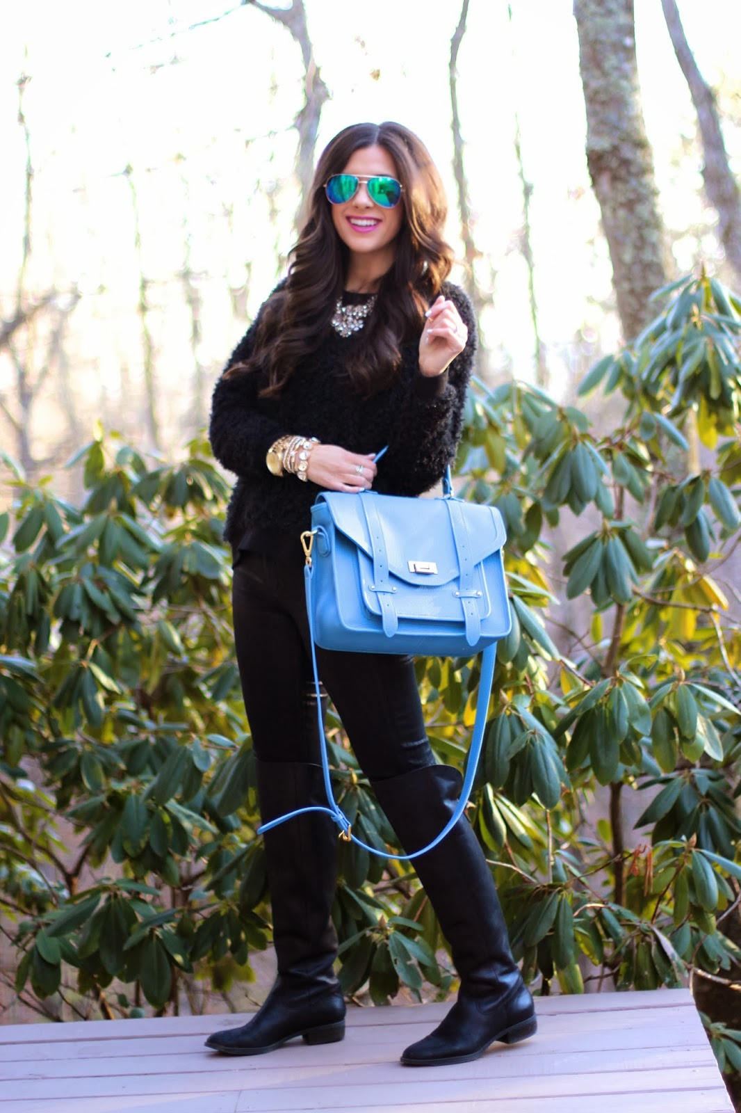 www.thesweetestthingblog.com, Emily Gemma, Faux Leather Leggings, Fuzzy Black Sweater, Mirrored Blue Aviators, Mirrored Blue RayBans, Sole Society boots, Over the knee boots, MAC up the amp, Gigi New York, Gigi New York Hayden Satchel, Spring Gigi NY Haydon Satchel, Michael Kors Runway Watch, David Yurman ring, Crystal Flower Necklace, Jcrew inspired crystal necklace