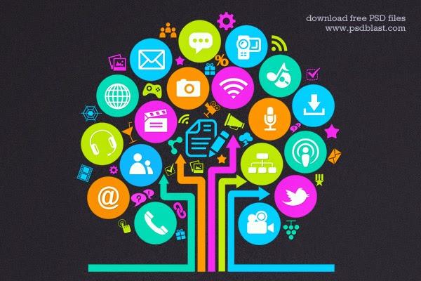Social Media Tree Icon PSD