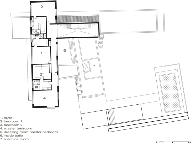 Third floor plan of Modern contemporary CT House in Mexico