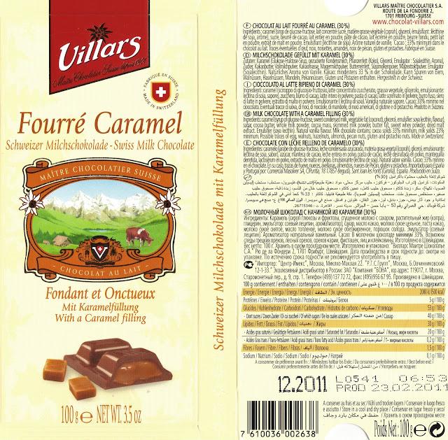 tablette de chocolat lait fourré villars lait fourré caramel