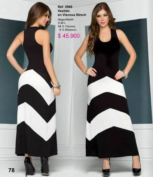 Vestido largo negro con blanco 2015-2
