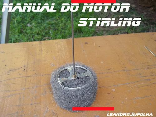 Manual do motor Stirling, pistão deslocador montado em lã de aço, caseiro