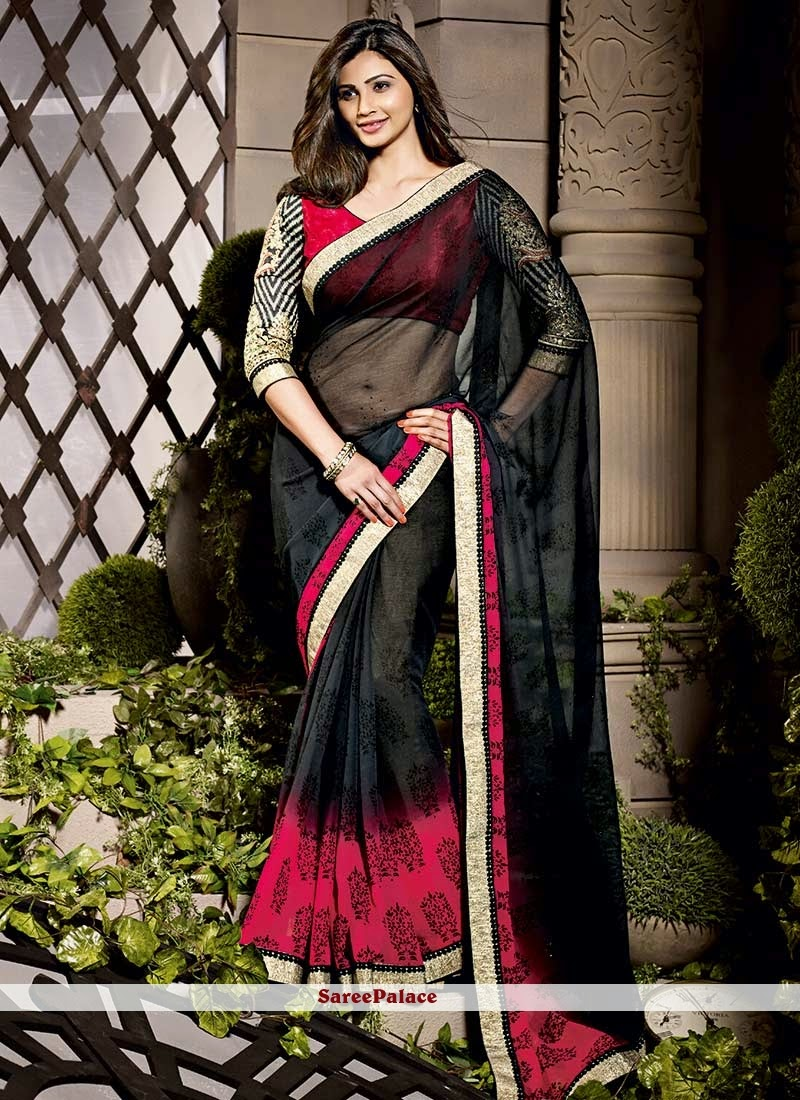 Daisy Shah Style Black And Pink Shaded Saree Hot Figure