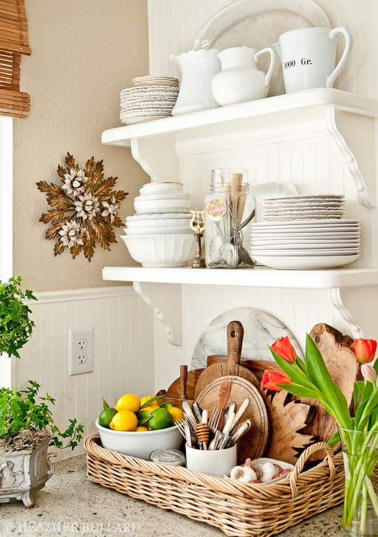 These two stacked kitchen shelves get the job done! A small storage space is sometimes all you need