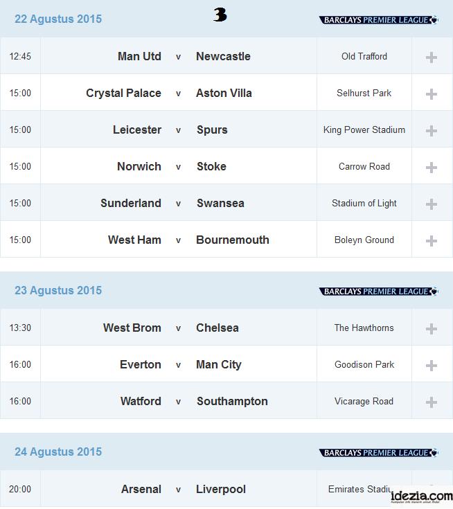 Jadwal Liga Inggris Pekan ke-3 22 23 24 Agustus 2015