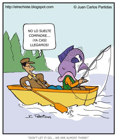 caricatura de amigos de pesca