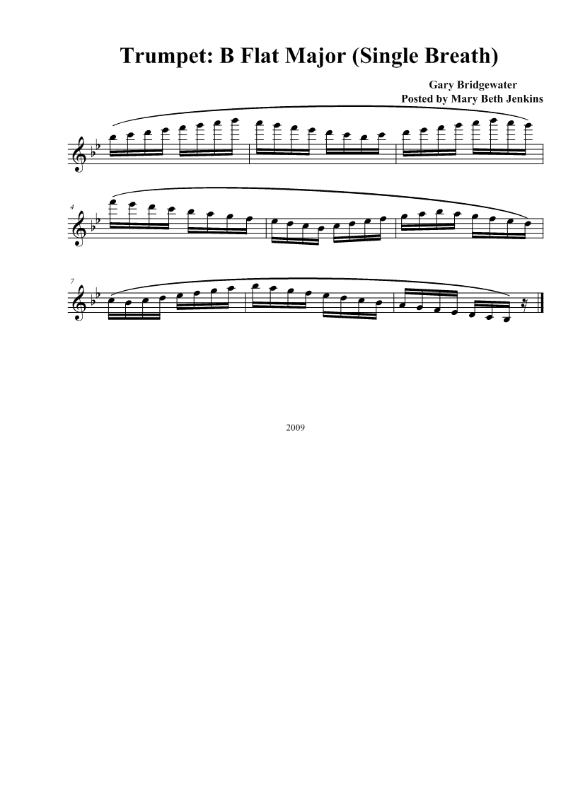 b Flat Major Scale Trumpet Trumpet b Flat Major Single