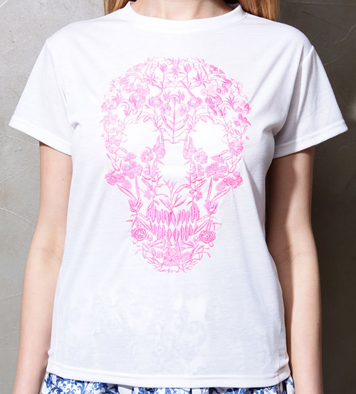 Floral Skull Embroidered Top