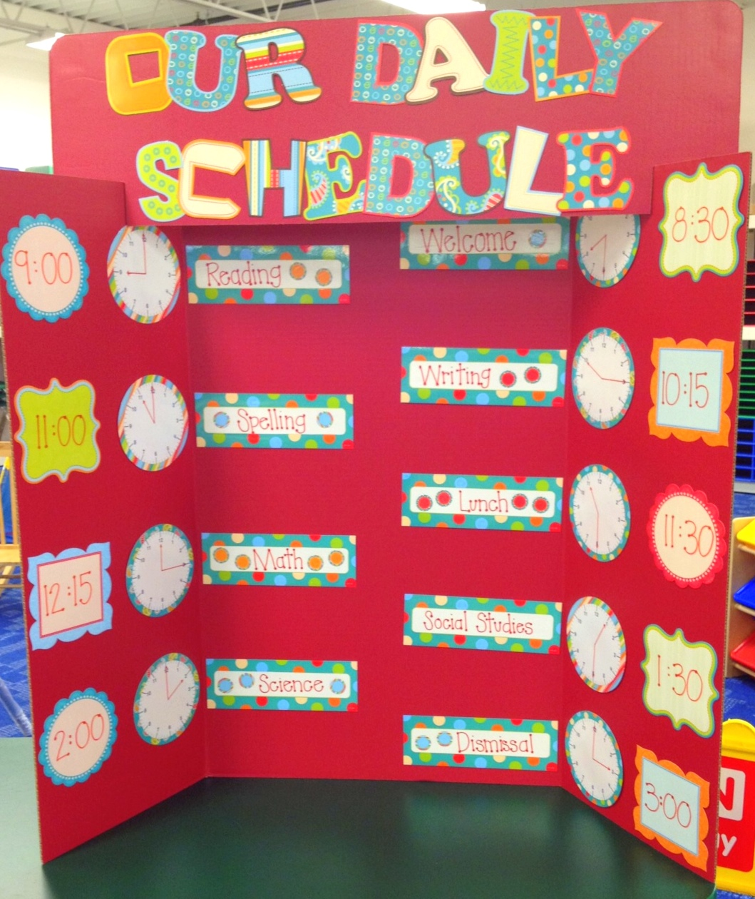 tri fold poster board ideas for color our daily schedule dots on turquoise collection - Tri Fold Display Board Design Ideas