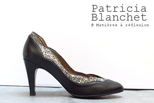 Patricia Blanchet Escarpin noir cuir pailleté bidiboule