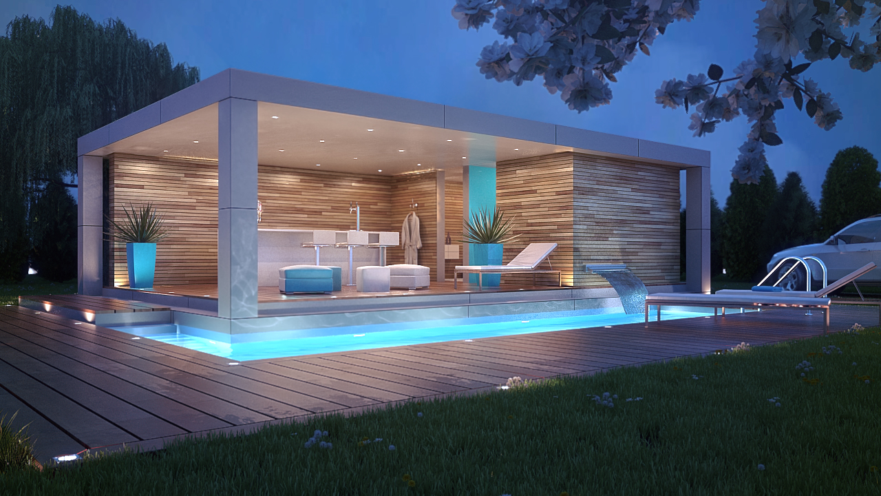 22 amazing swimming pool designs the grey home for Beautiful house designs with swimming pool