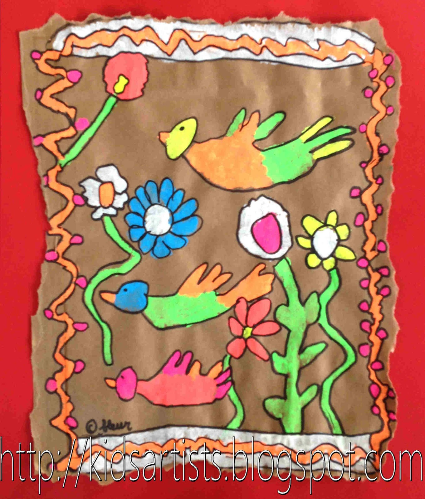 Amate Mexican Folk Art Coloring Pages