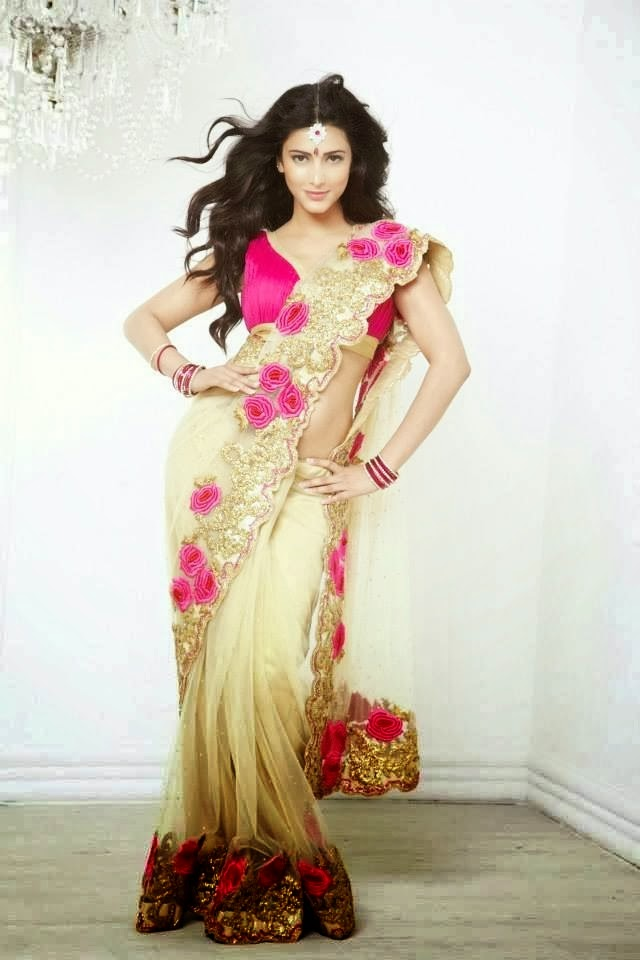 Shruthi Hassan Hot Photoshoot in Saree HD Wallpapers 2014