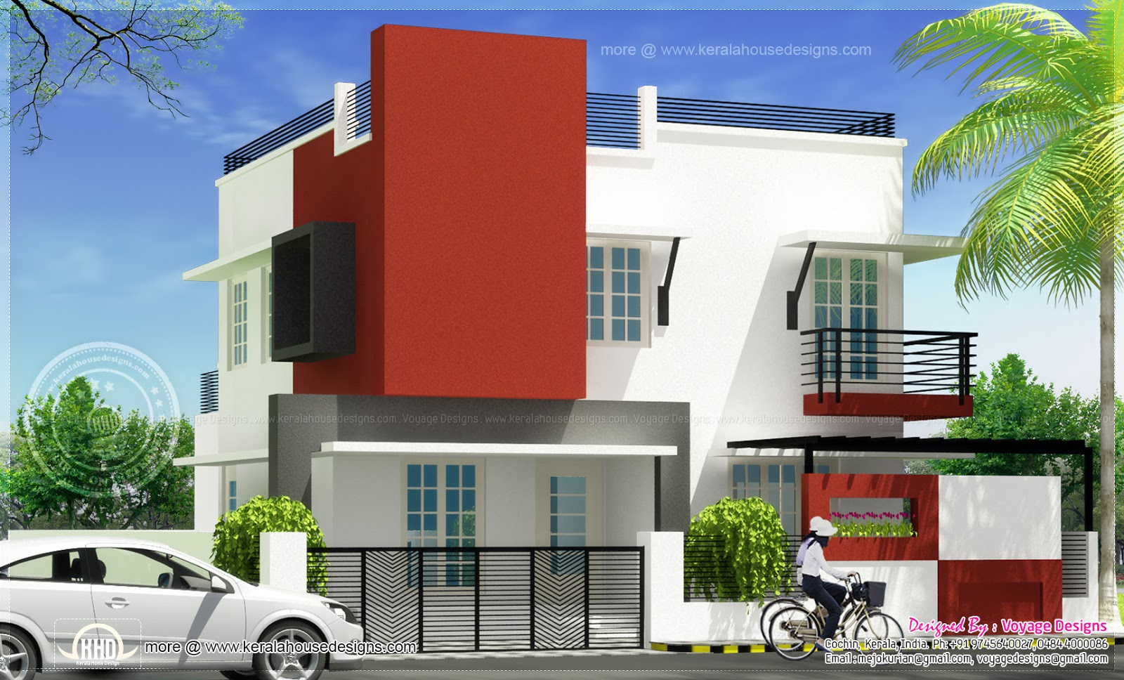 Front Elevation Of 200 Sq Yards : Bedroom modern house in square yards kerala home