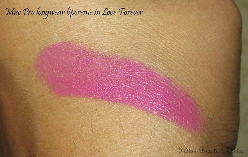 MAC Prolong Wear Lip Crème Love Forever swatches