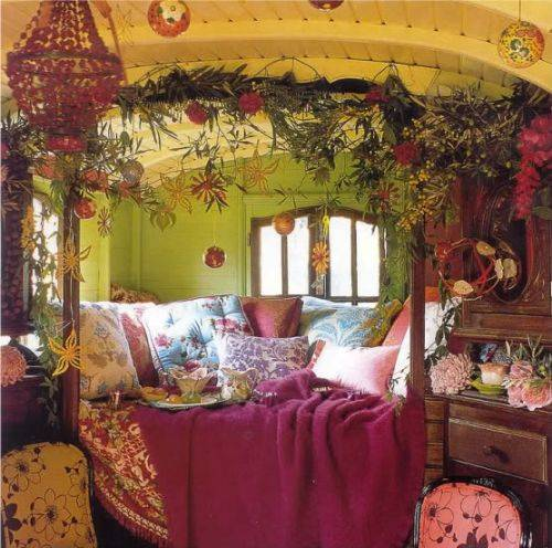 I Love The Unexpected Combination Of Raspberry With Shades Green Use Color Is Often A Main Element Bohemian Style Interior