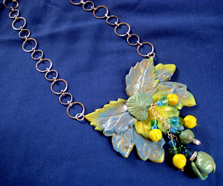 Blue and Yellow Leaf Necklace