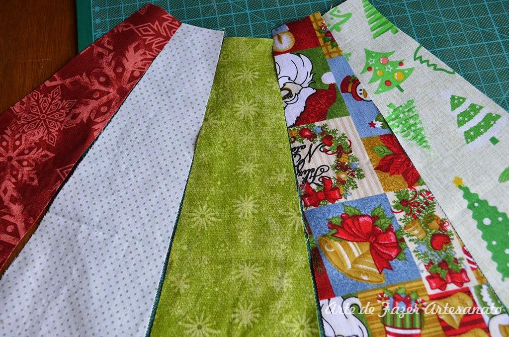 tecidos para a saia para árvore de natal em Patchwork