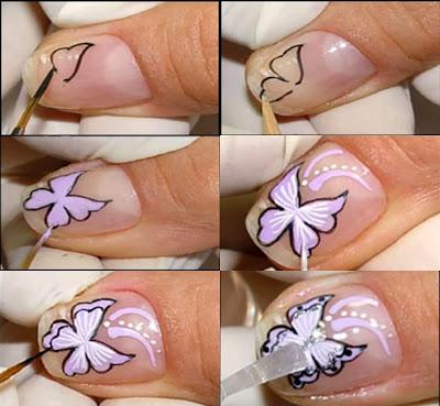 Passo a Passo, Tutorial de Unhas decoradas com borboletas