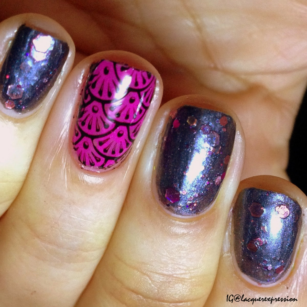 swatch and review of guns and roses nail polish by jindie nails