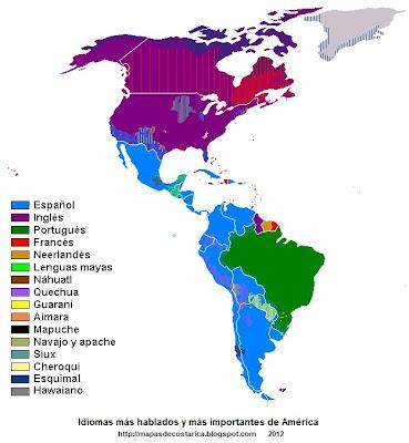 Mapa de los Idiomas más hablados y más importantes de América