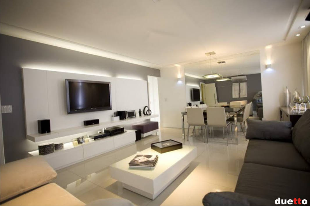 Sala De Estar Com Home Theater Branco