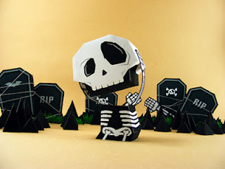 Skull and Tombstone Papercraft Ouch My Head
