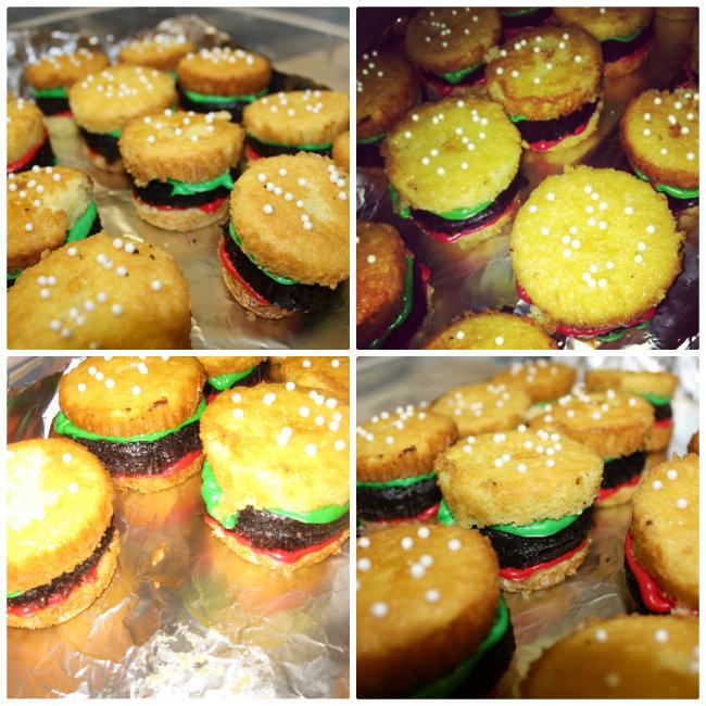 Lots O Baseball Burger Cupcakes and Chuck E Cheese Comme Coco
