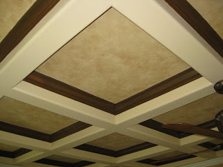 Array of color inc coffered ceiling faux painted for Coffered ceiling paint ideas