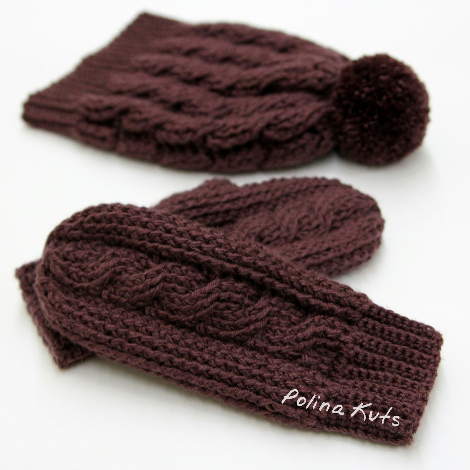 схема вязки плетеночка на спицах для варежек