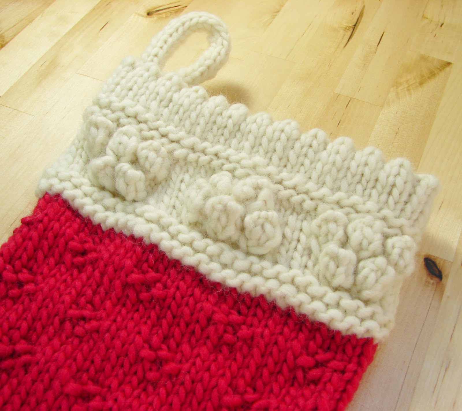 classic christmas stocking knit wool chunky cream white red