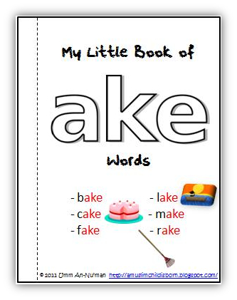 An word family printable book