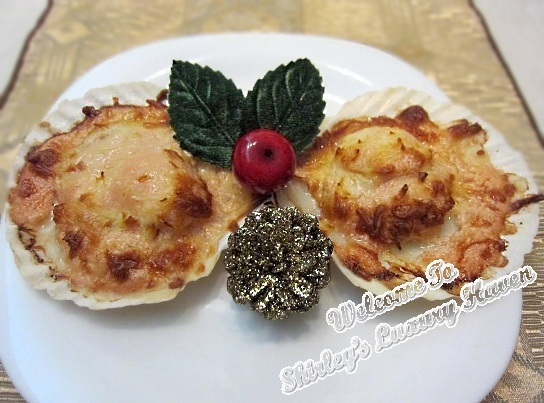 baked mentaiko scallops