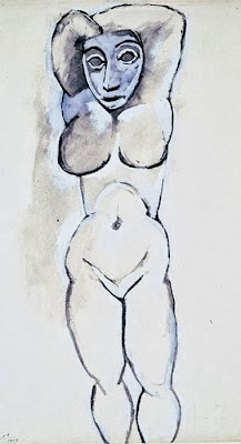 Pablo Picasso - Female nude with arms raised,1907.
