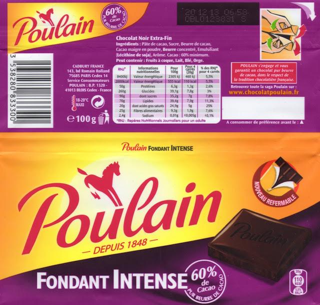 tablette de chocolat noir dégustation poulain noir fondant intense 60
