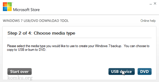 Windows 7 USB-DVD Download Tool.