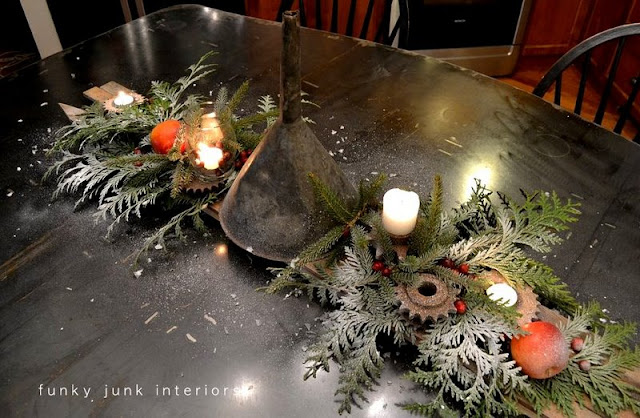 Oil funnel and rusty gear junk Christmas centrepiece via Funky Junk Interiors