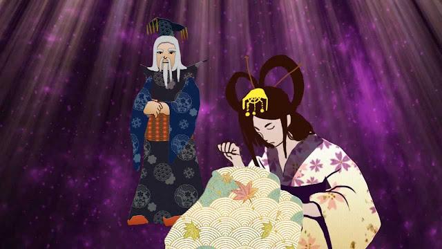 Princesa Orihime tejiendo los telares (leyenda de Tanabata)