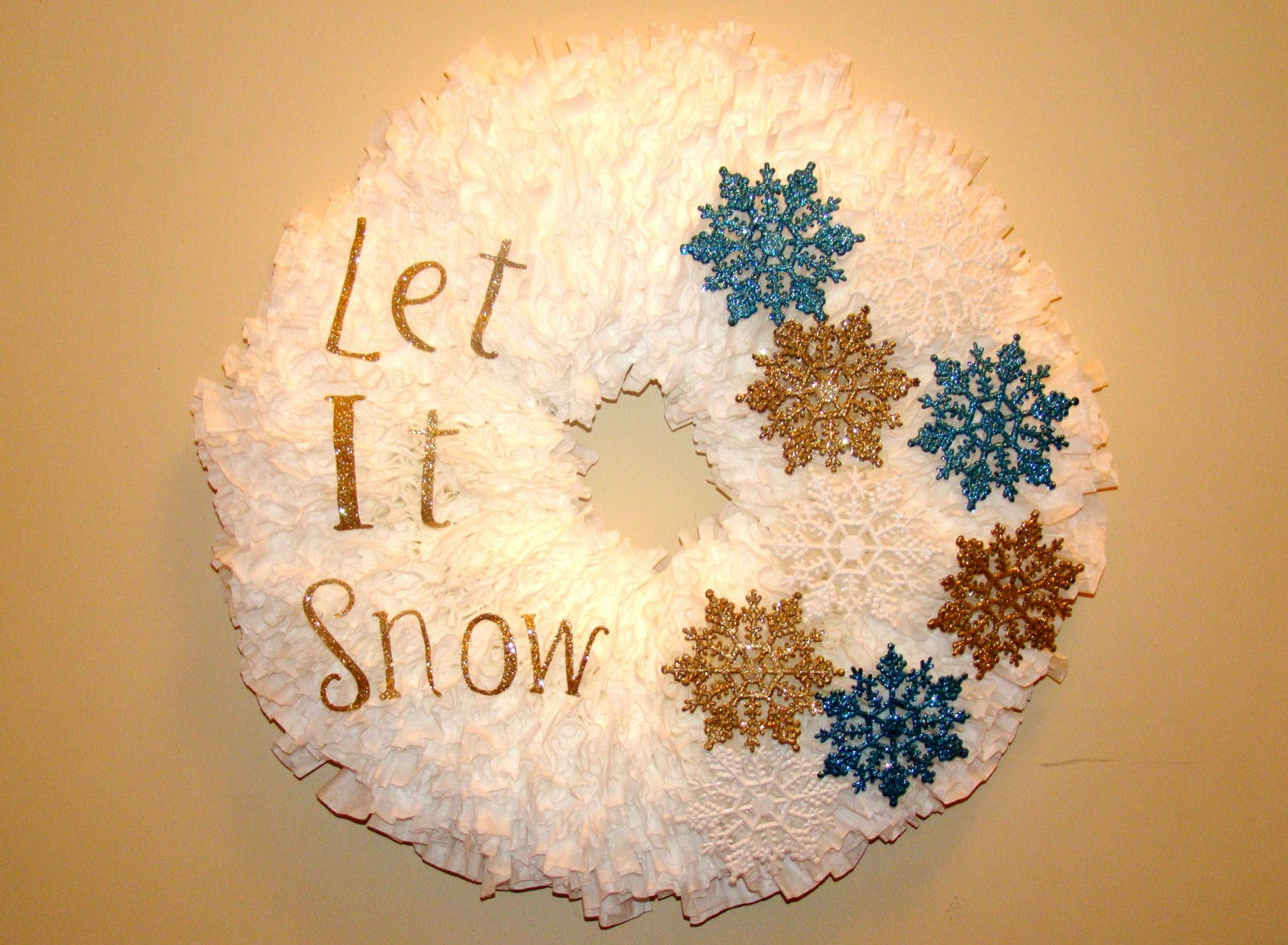winter coffee filter wreath