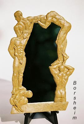 Oh boy!  bronze mirror of nude men bas relief sculpture