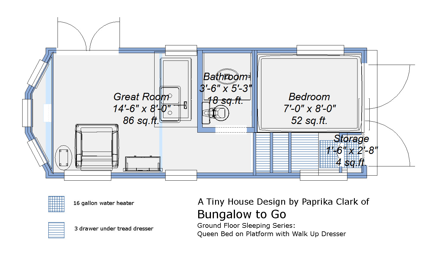 Donn tiny house plans on trailer 8x10x12x14x16x18x20x22x24 for Tiny house trailer floor plans