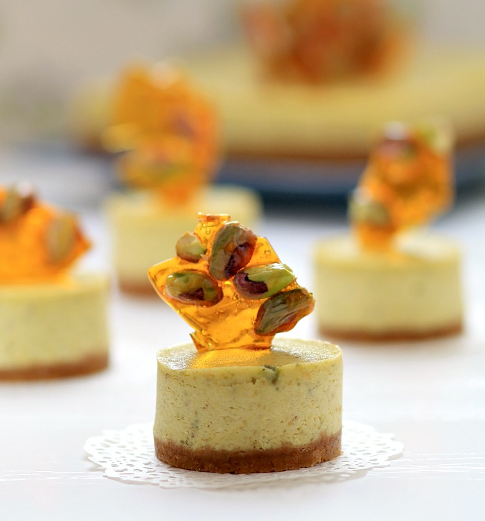 my bare cupboard: Pistachio-lime cheesecake with pistachio brittle