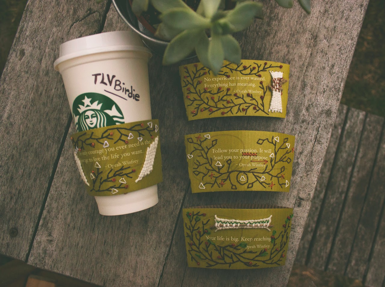 Starbucks cup holders hand stitched embroidery art, emphasizing the Teavana and Oprah's Steep Your Soul campaign in an eco-friendly way.