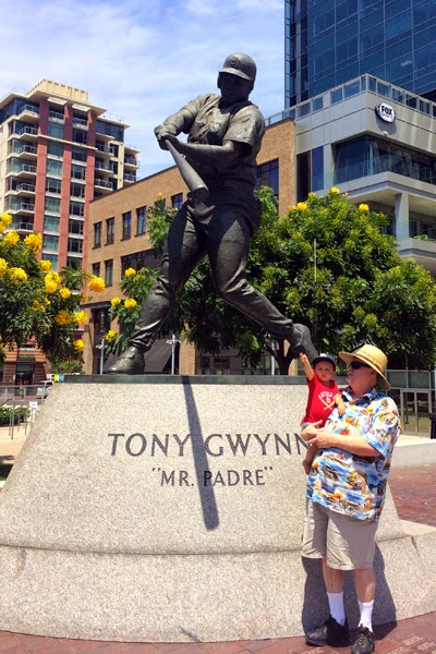 Reef and Opa enjoying Tony Gwynn monument. RIP Mr. Padre.