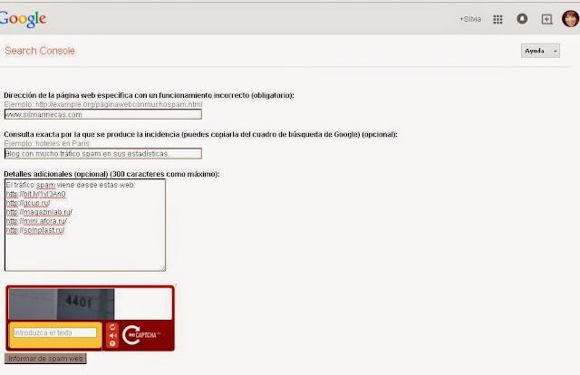 denunciar a google web spam